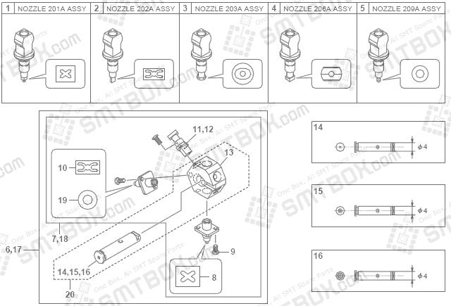 SMT设备及SMT配件 - Yamaha雅马哈 YG200 201A 202A 203A 206A 209A SMT SMD吸嘴Nozzle